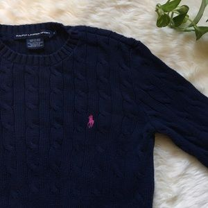 Ralph Lauren Navy Blue Cable Knit Pink Polo Logo